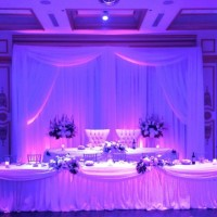 Lavender & white backdrop & head table